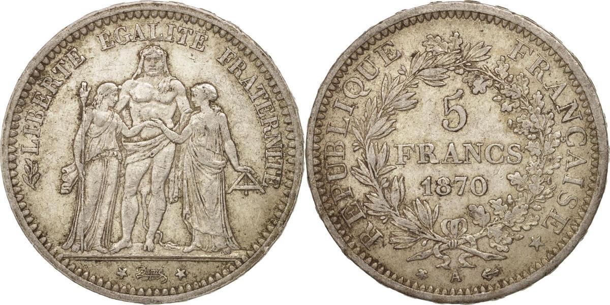 5 Francs 1870 A Frankreich Hercule EF(40-45)