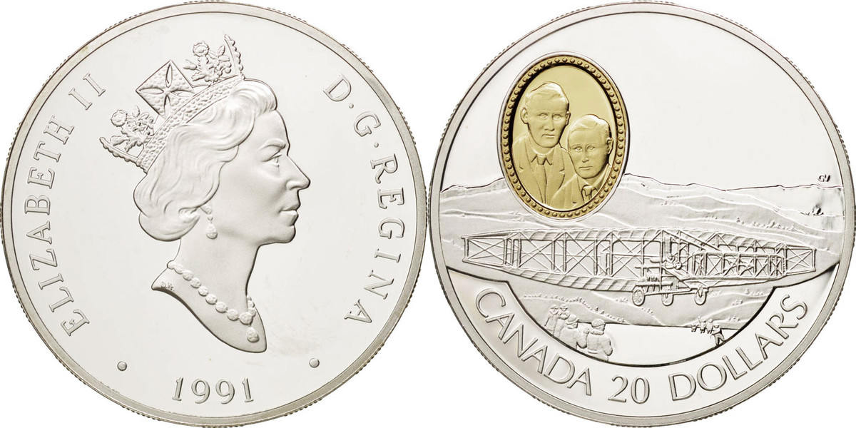 20 Dollars 1991 Royal Canadian Mint Kanada Aviation Elizabeth II MS(65-70)