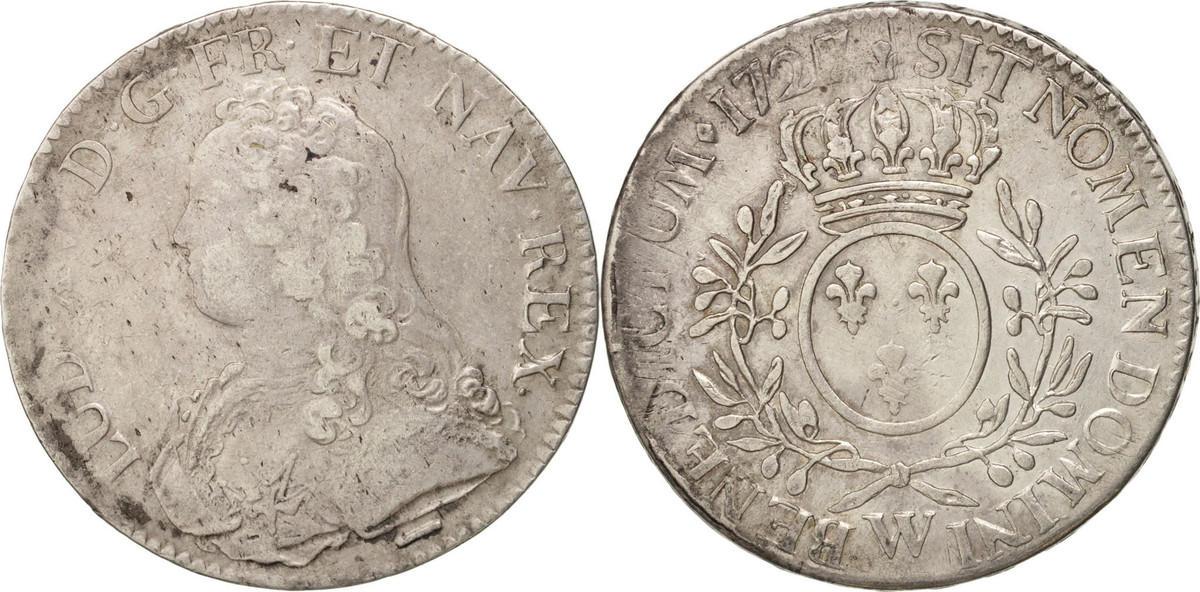 Ecu 1727 W Frankreich Écu aux branches d'olivier Louis XV VF(30-35)