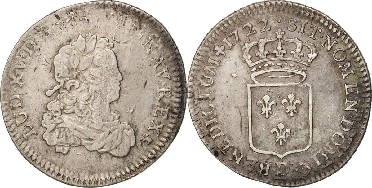 1/3 Ecu 1722 D Frankreich 1/3 Écu de France Louis XV VF(30-35)