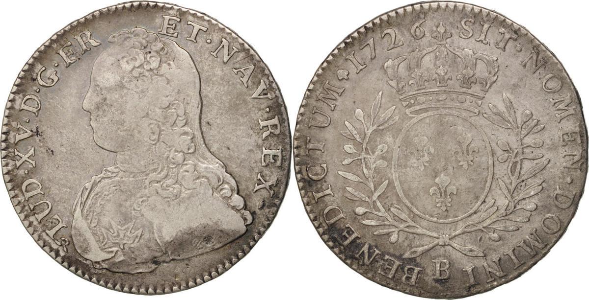 1/2 ECU, 44 Sols 1726 B Frankreich 1/2 Écu aux branches d'olivier Louis XV VF(20-25)