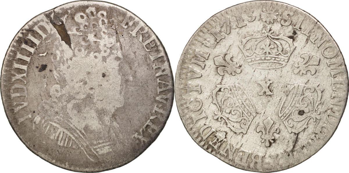 1/10 Ecu 1713 X Frankreich 1/10 Écu aux 3 couronnes Louis XIV VF(20-25)