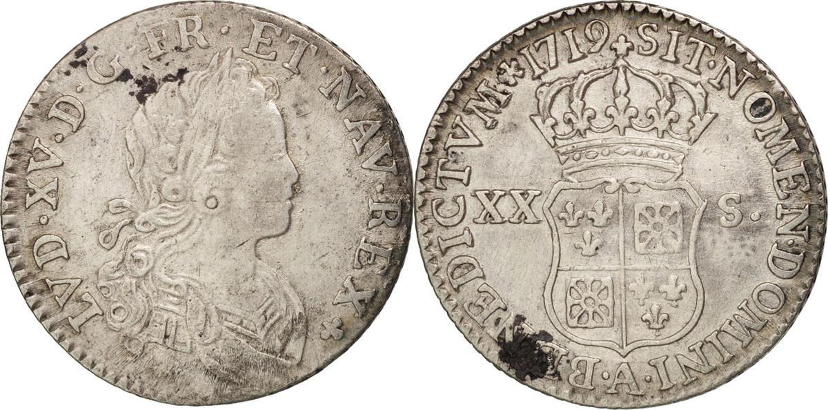 20 Sols, 1/6 ECU 1719 A Frankreich 1/6 Écu (XX – S) de France-Navarre Louis XV EF(40-45)