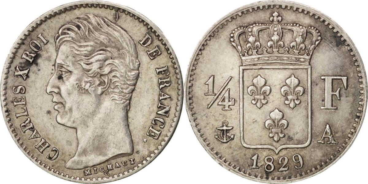 1/4 Franc 1829 A Frankreich Charles X AU(50-53)