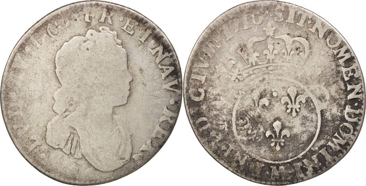 12 Sols, 1/10 ECU 1716 M Frankreich 1/10 Écu Vertugadin Louis XV VG(8-10)
