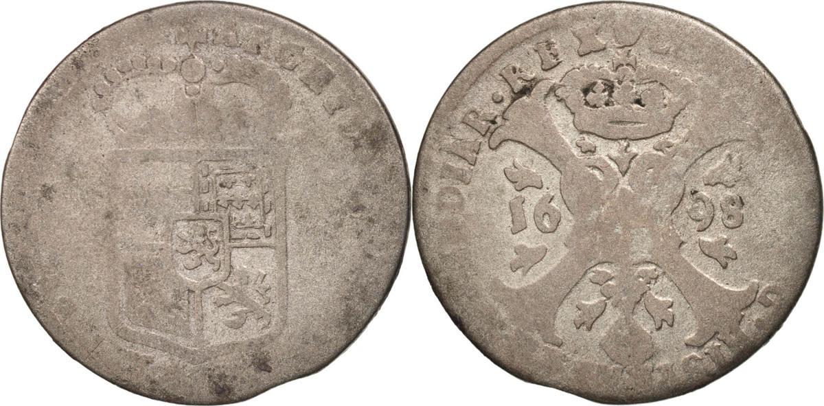 4 Patards 1698 Antwerp Spanische Niederlande VG(8-10)