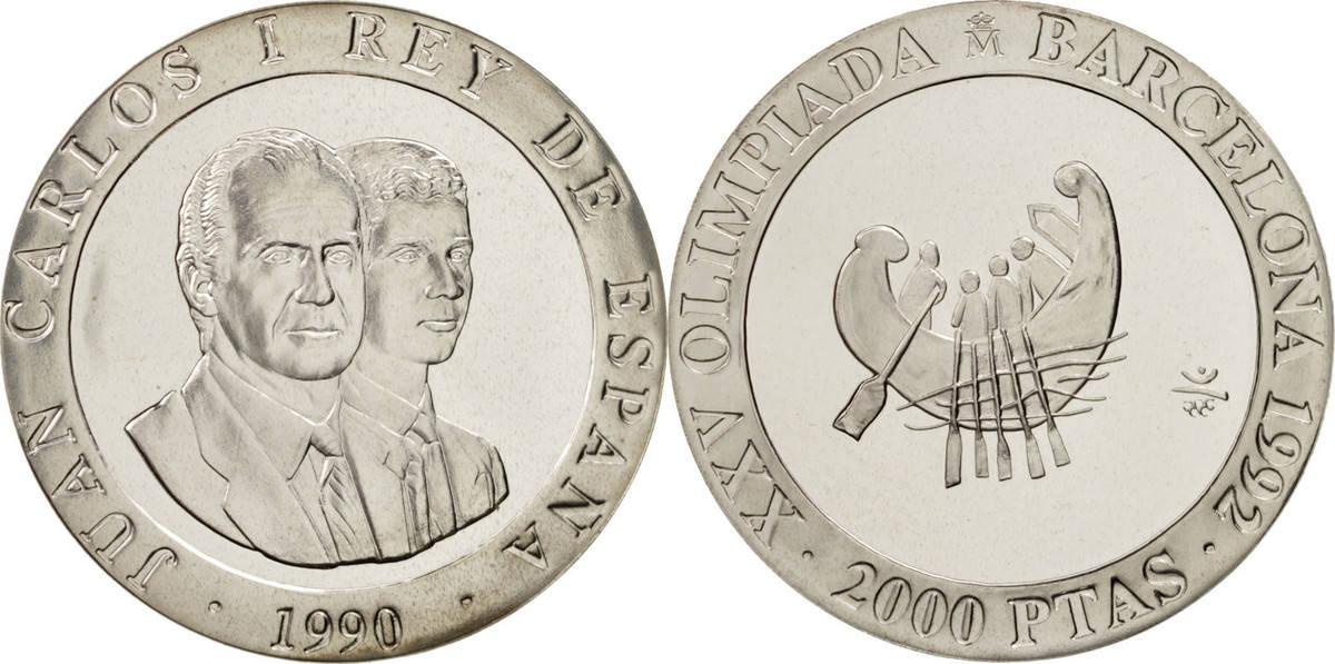 2000 Pesetas 1990 Madrid Spanien 1992 Olympics Juan Carlos I MS(65-70)