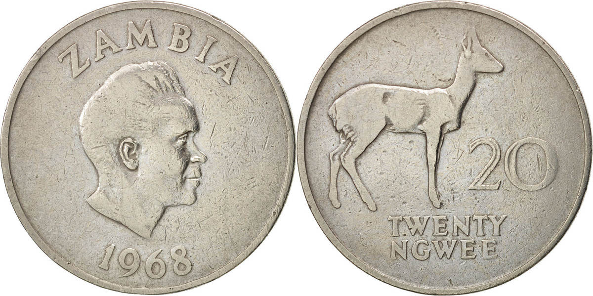 20 Ngwee 1968 British Royal Mint Sambia VF(30-35)