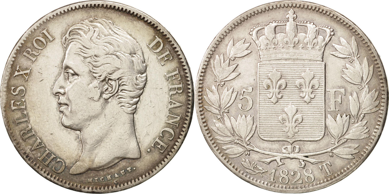 5 Francs 1828 T Frankreich Charles X VF(30-35)