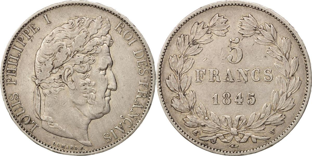 5 Francs 1845 W Frankreich Louis-Philippe EF(40-45)
