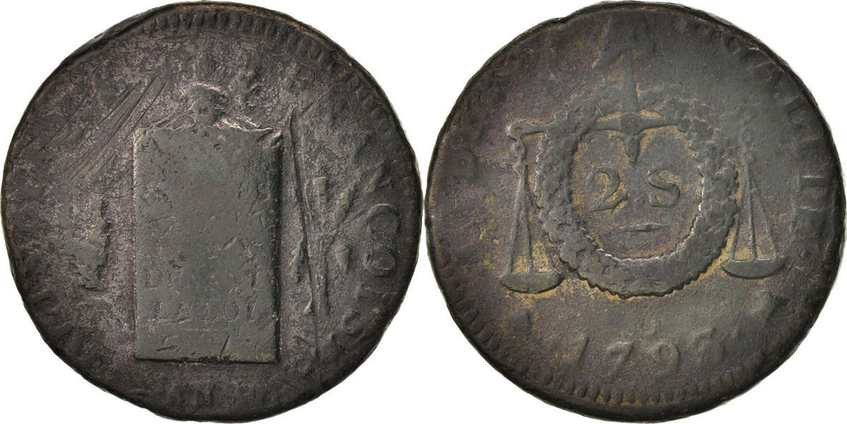 2 Sols 1793 B Frankreich 2 sols aux balances daté VG(8-10)