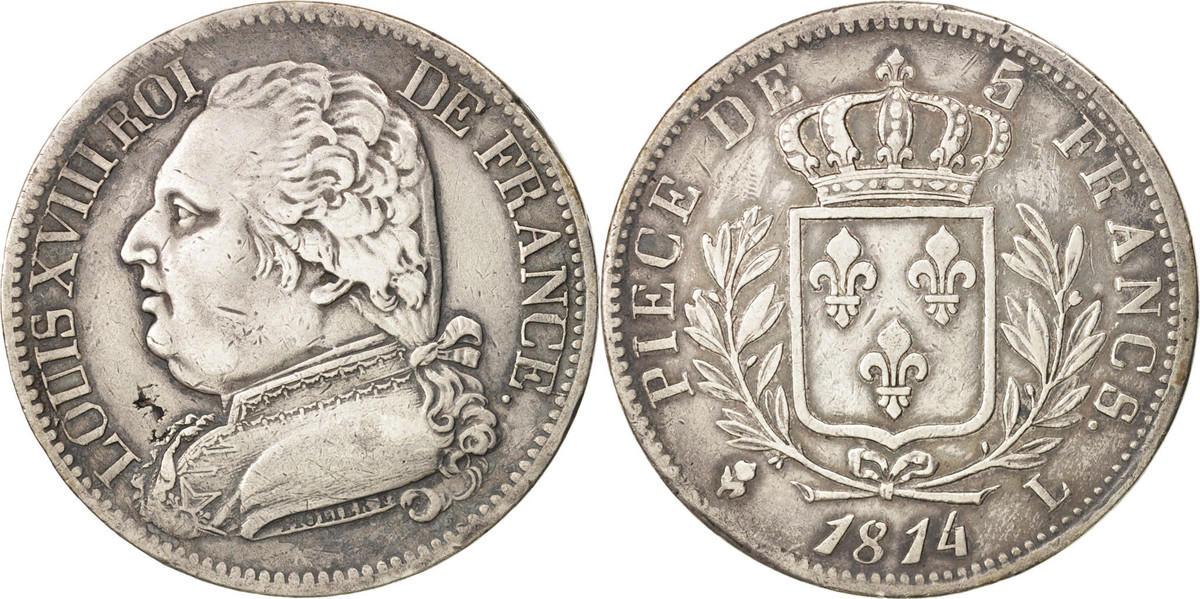 5 Francs 1814 L Frankreich Louis XVIII Louis XVIII EF(40-45)