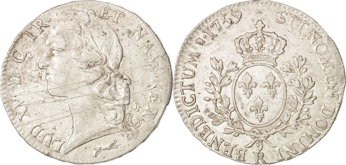 Ecu 1759 R Frankreich Louis XV, Orléans, Silber,KM:523.18,Gadoury322 AU(50-53)