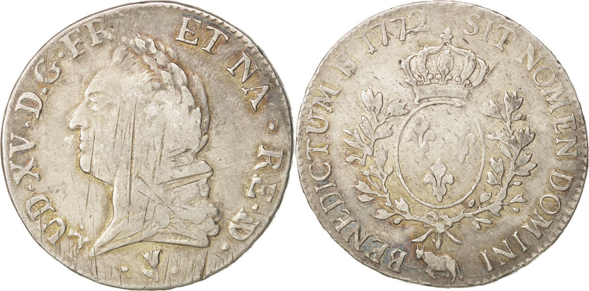 Ecu 1772 Pau Frankreich Louis XV, Écu de Béarn à la vieille tête, Pau,KM555 VF(20-25)