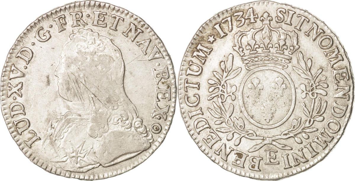 Ecu 1734 E Frankreich Louis XV, Écu aux branches d'olivier, Tours,KM 486.7 VF(30-35)