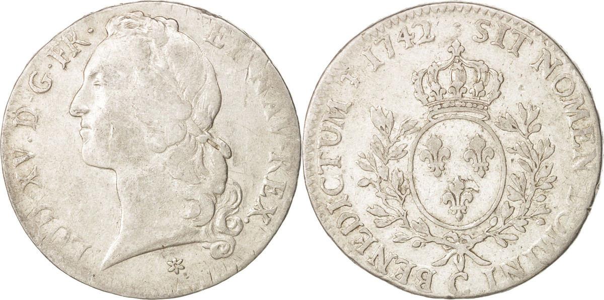 Ecu 1742 C Frankreich Louis XV, Écu au bandeau, Caen, Silber, KM 512.5 VF(30-35)