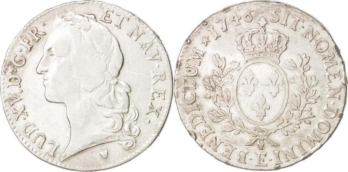 Ecu 1746 E Frankreich Louis XV, Écu au bandeau, Tours, Silber, KM512.7 VF(20-25)