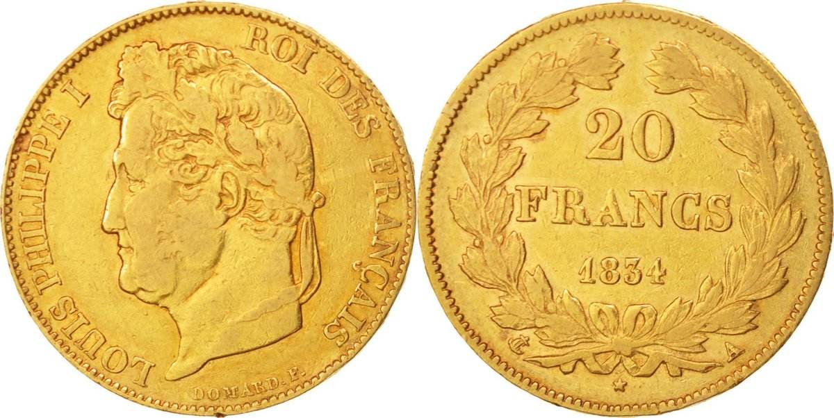 20 Francs 1834 A Frankreich Louis-Philippe, Paris, Gold, KM:750.1 S+