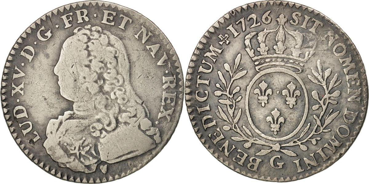12 Sols, 1/10 ECU 1726 G Frankreich Louis XV, 1/10 Écu aux branches d'olivier, Poitiers, KM 481.8 S