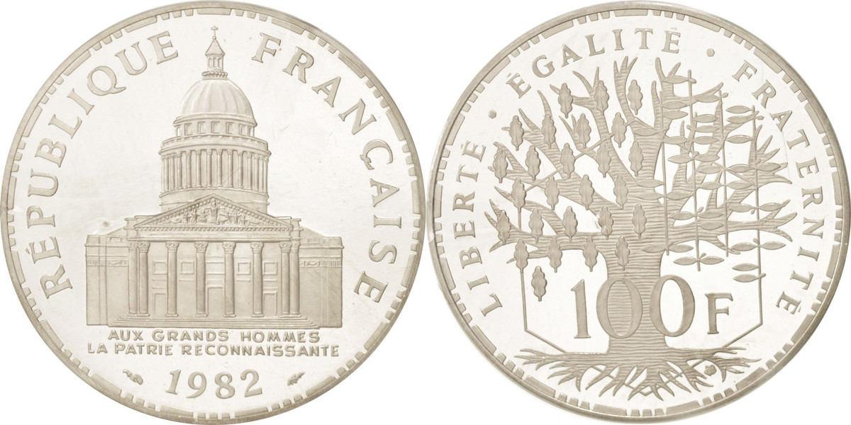 100 Francs 1982 Frankreich STGL, Silber, KM:P751, Gadoury:232.P1 STGL