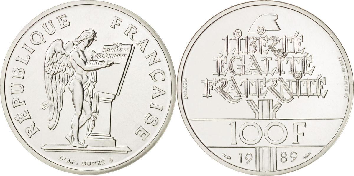 100 Francs 1989 Frankreich STGL, Silber, KM:P1008, Gadoury:238.P1 STGL