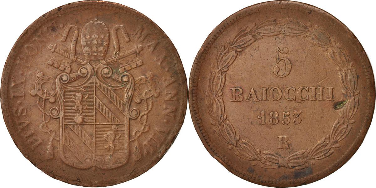 5 Baiocchi 1853 R Italien Staaten PAPAL STATES, Pius IX, Roma, SS,Copper,KM1356 SS