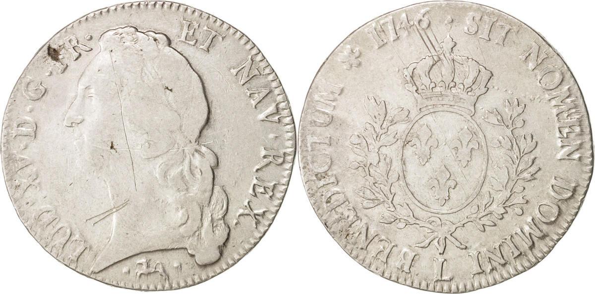 Ecu 1746 L Frankreich Louis XV, Écu au bandeau, Bayonne, S, Silber, KM:512.12 S