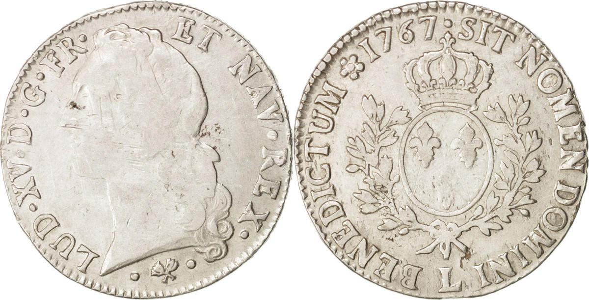 Ecu 1767 L Frankreich Louis XV, Écu au bandeau, Bayonne, S, Silber, KM:512.12 S