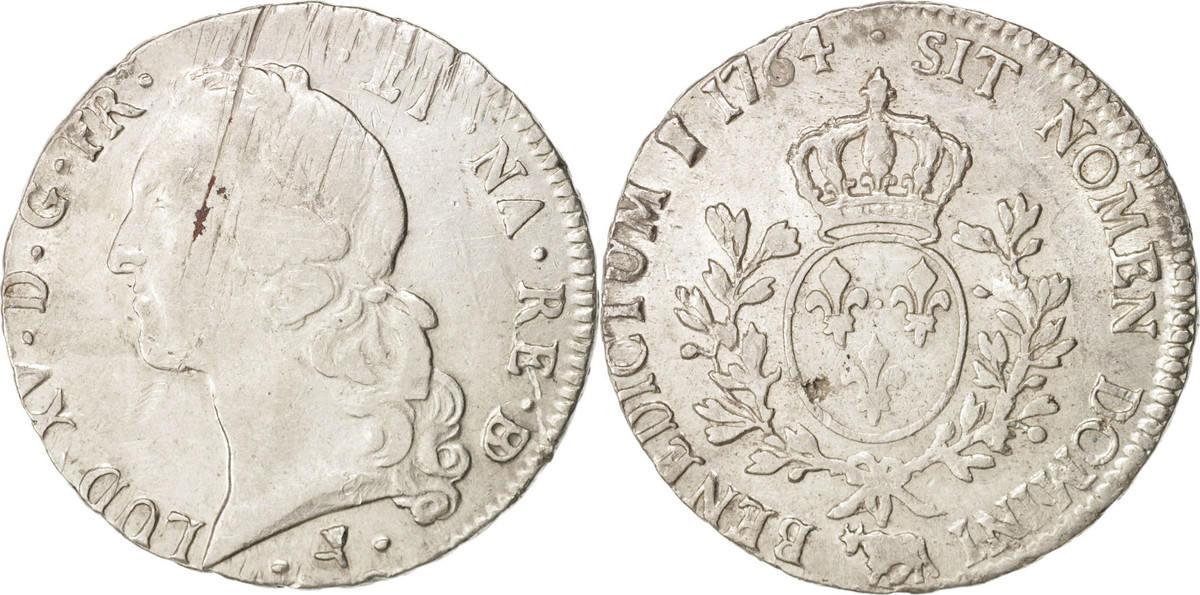 Ecu 1764 Pau Frankreich Louis XV, Écu de Béarn au bandeau, Pau, S+, Silber, KM 518 S+