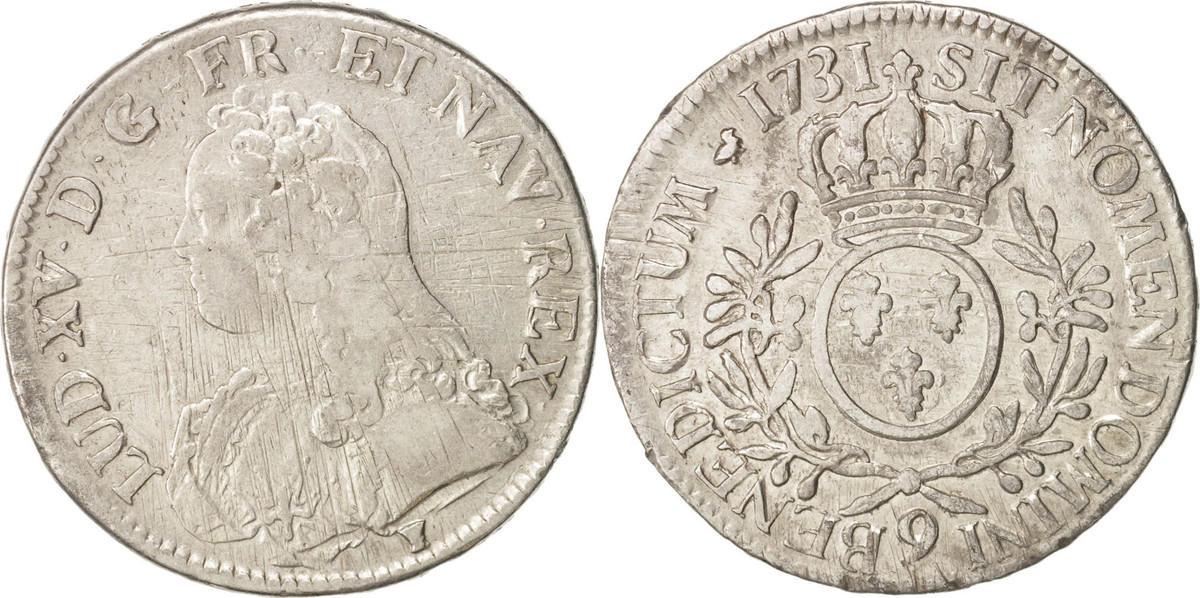 Ecu 1731 Rennes Frankreich Louis XV, Écu aux branches d'olivier, Rennes, S+, KM 486.26 S+