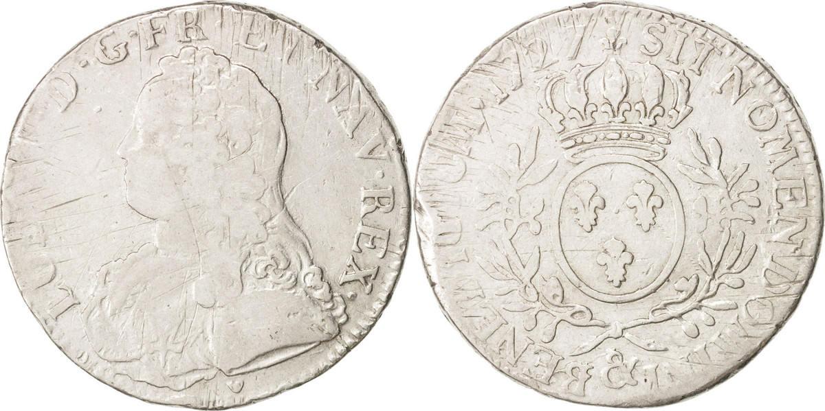 Ecu 1727 Aix Frankreich Louis XV, Écu aux branches d'olivier, Aix,SGE+,Silber,KM486.27 SGE+