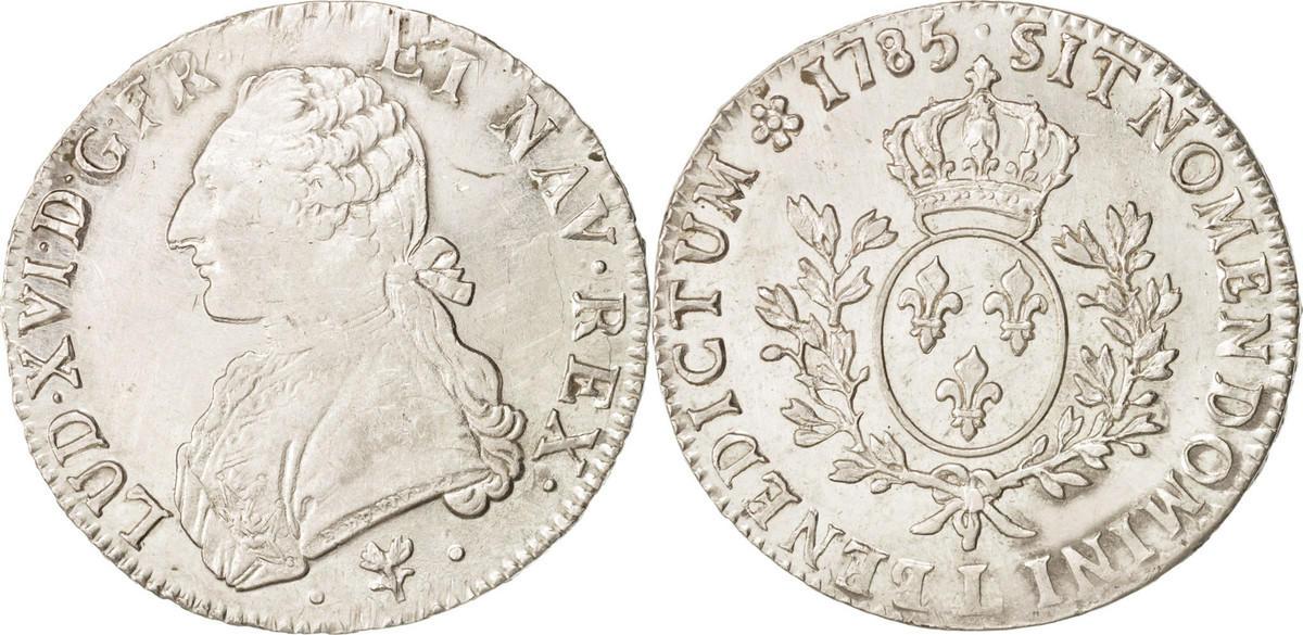 Ecu 1785 L Frankreich Louis XVI, Écu aux branches d'olivier, Bayonne, SS, KM 564.9 SS