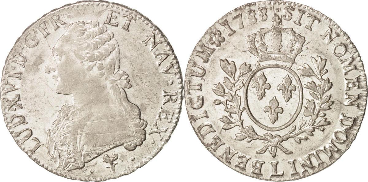 Ecu 1788 L Frankreich Louis XVI, Écu aux branches d'olivier, Bayonne, SS, KM 564.9 SS