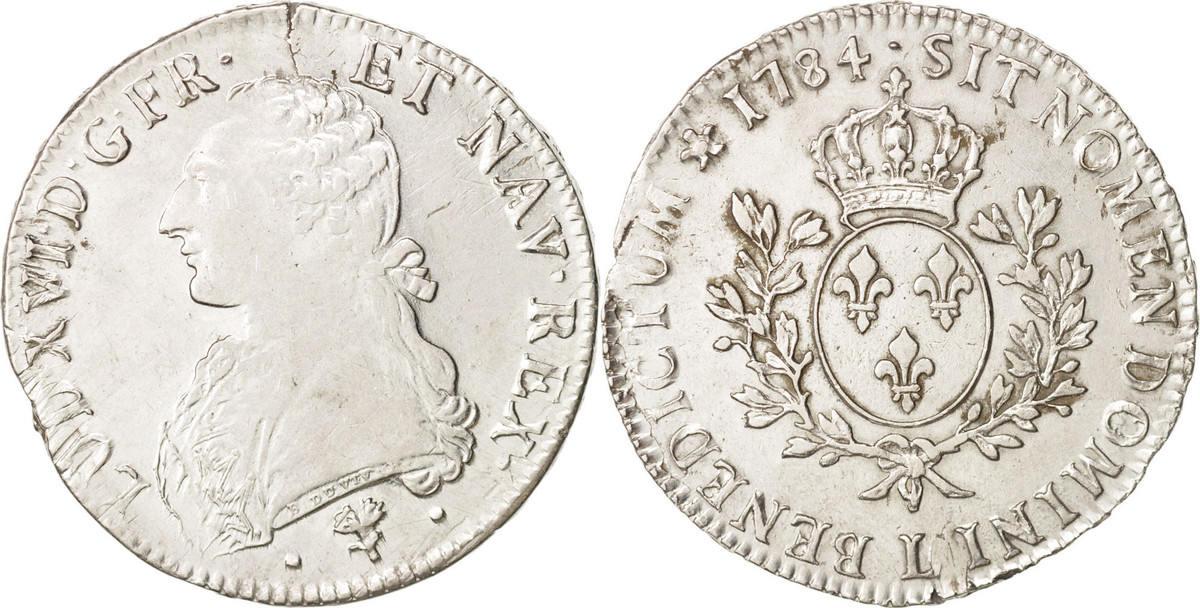 Ecu 1784 L Frankreich Louis XVI, Écu aux branches d'olivier, Bayonne, S+, KM 564.9 S+