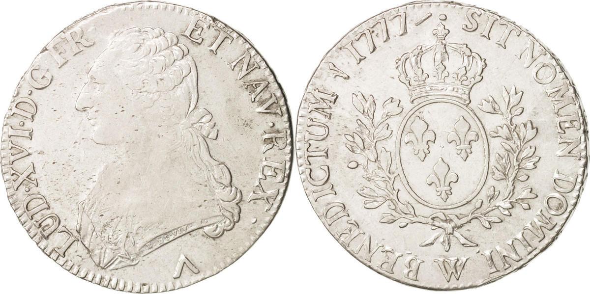 Ecu 1777 W Frankreich Louis XVI, Écu aux branches d'olivier, Lille, S+, KM 564.16 S+