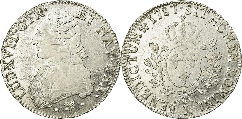 Ecu 1787 L Frankreich Louis XVI, Écu aux branches d'olivier, Bayonne, S+, KM 564.9 S+