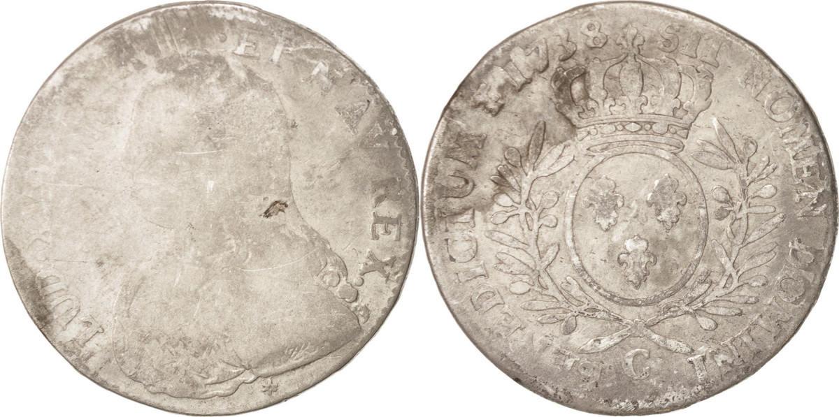 1/2 ECU, 44 Sols 1738 Caen Frankreich Caen, SGE, Silber, Gadoury:313 SGE