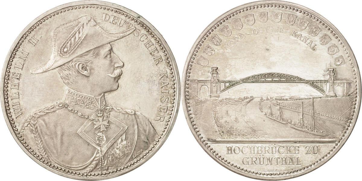 Medal 1895 Deutschland Bridge Grünthal Railway Heide in Neumunster, Railway VZ