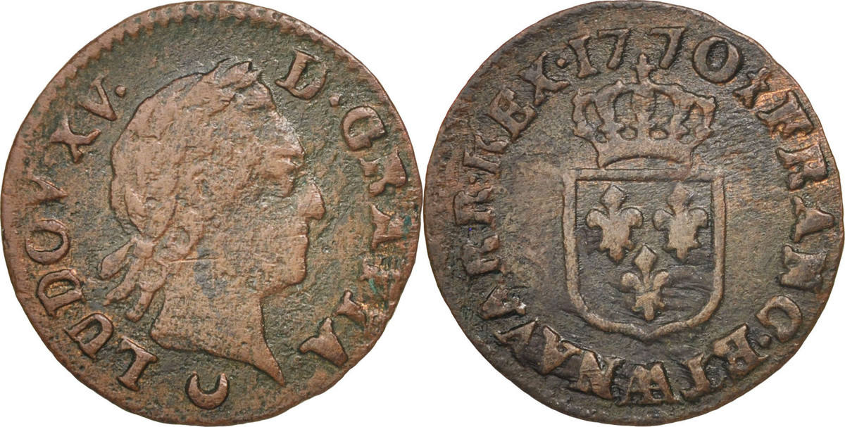 Liard 1770 AA Frankreich Louis XV, Liard à la vieille tête, Metz, S, Copper S