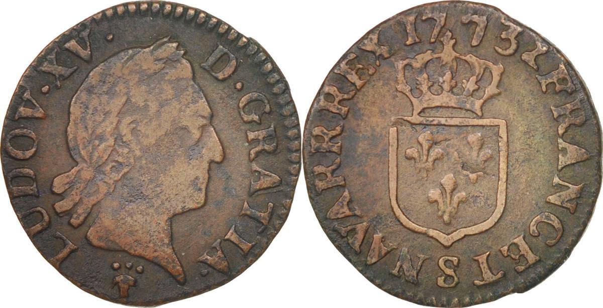Liard 1773 S Frankreich Louis XV, Liard à la vieille tête, Reims, S, KM 543.9 S