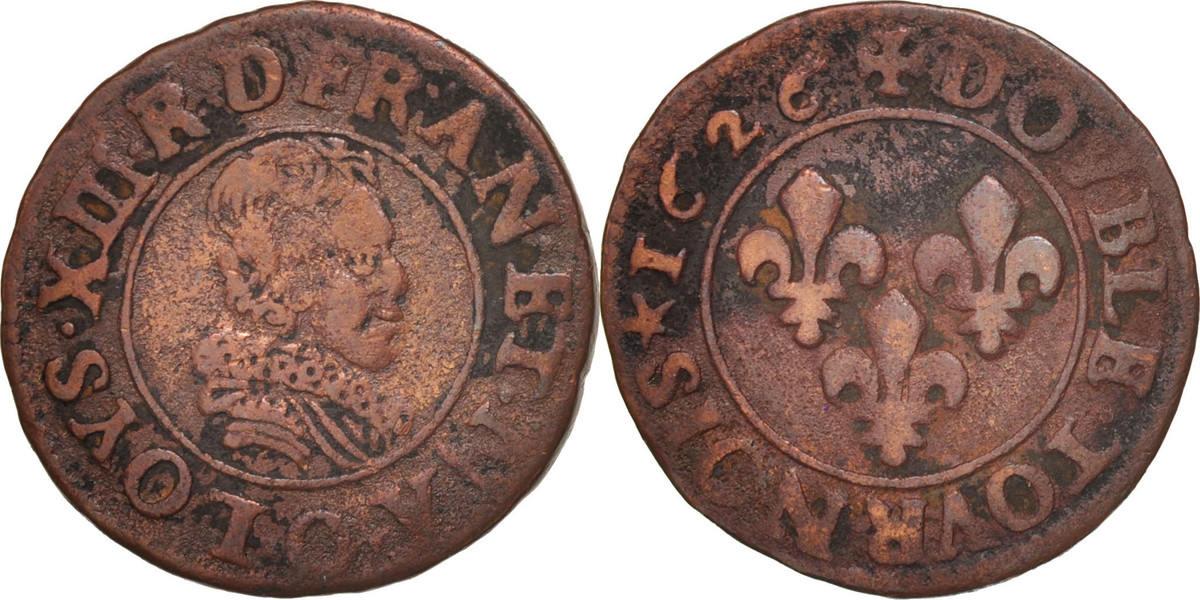 Double Tournois 1626 O Frankreich Louis XIII, Double tournois, buste juvénile, Riom, KM 61.6 S+
