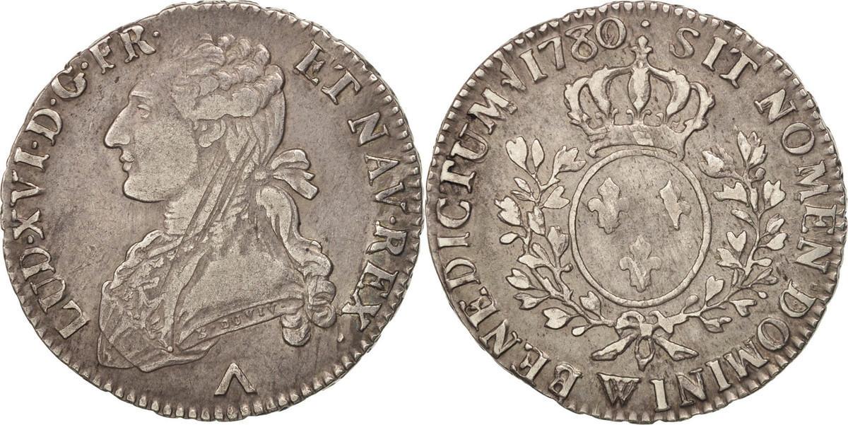 1/2 ECU, 44 Sols 1780 W Frankreich Louis XVI, 1/2 Écu, 44 Sols, Lille, SS, Silber, KM 562.13 SS