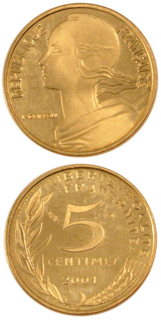 5 Centimes 2001 Frankreich FRANCE, Marianne, Paris, KM #933, Aluminum-Bronze,. STGL
