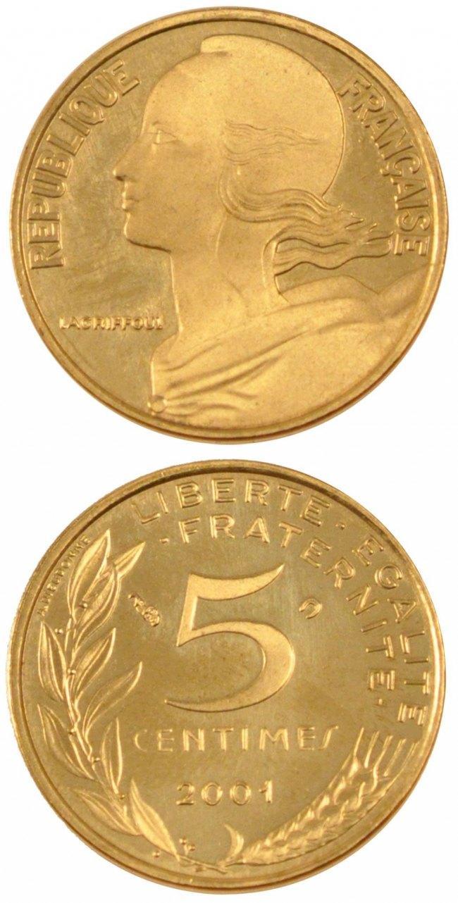 5 Centimes 2001 Paris Frankreich FRANCE, Marianne, Paris, KM #933, Aluminum-Bronze,. STGL