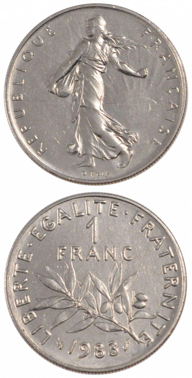 Franc 1983 Paris Frankreich FRANCE, Semeuse, Paris, KM #925.1, Nickel, 24, Gadoury.. STGL