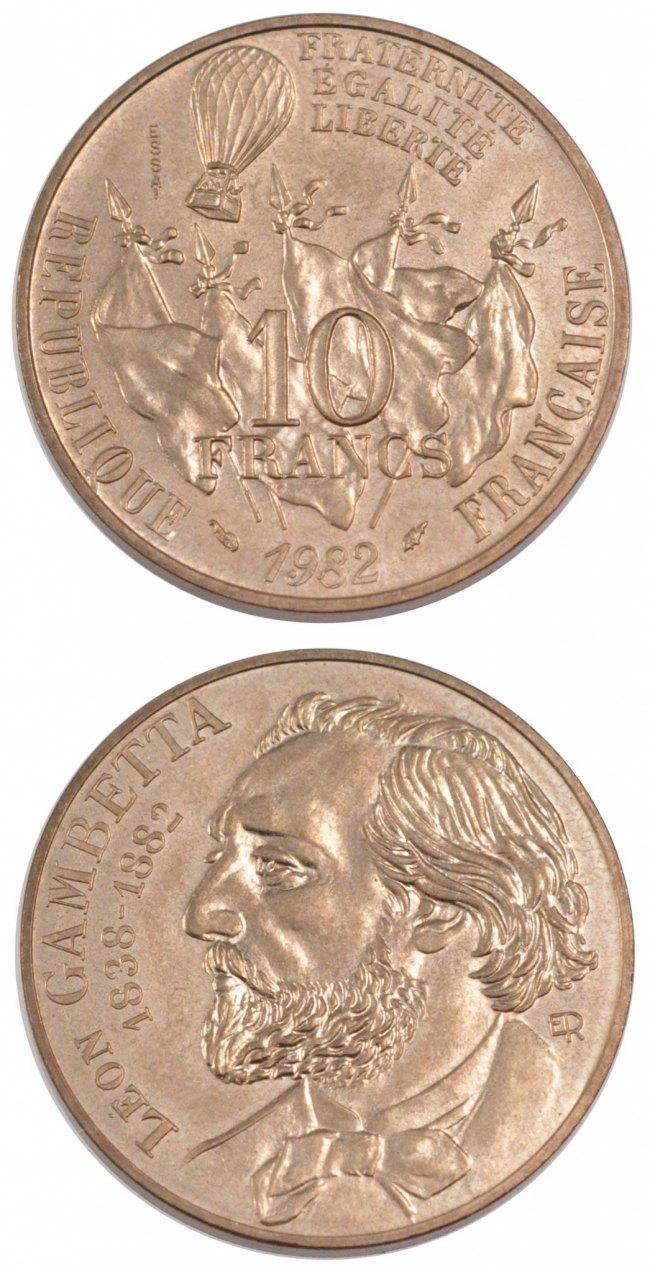 10 Francs 1982 Frankreich FRANCE, KM #E122, Copper-Nickel, 10.00 STGL