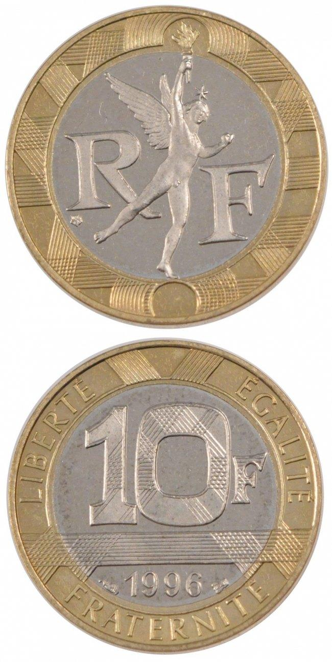 10 Francs 1996 Frankreich FRANCE, Génie, KM #964.1, Bi-Metallic, 23, Gadoury # STGL