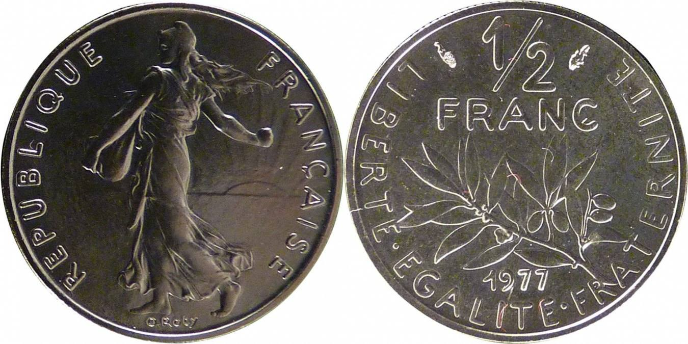 1/2 Franc 1977 Frankreich Semeuse MS(65-70)