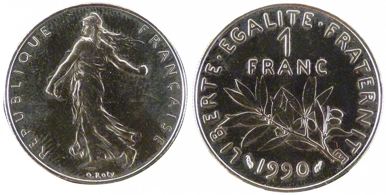 Franc 1990 Frankreich FRANCE, Semeuse, Paris, KM #925.1, Nickel, 24, Gadoury.. STGL