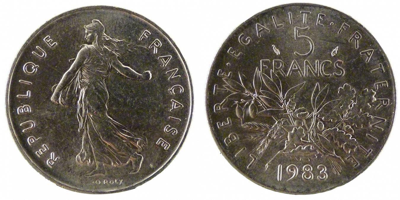 5 Francs 1983 Frankreich Semeuse MS(65-70)